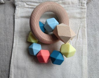 Sunrise - Silicone and Beech teething rattle / Modern baby rattle