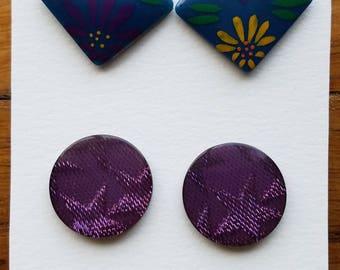 Vintage Earrings - 2 pairs - pierced #196