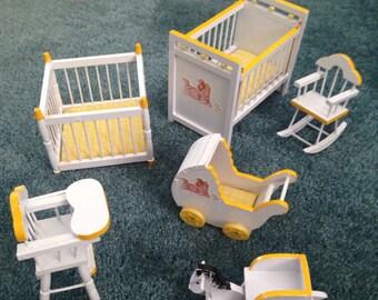 Dollhouse white and yellow haindpainted baby furniture set