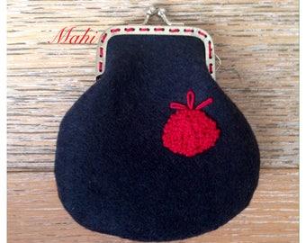 Felt embroidery coin purse