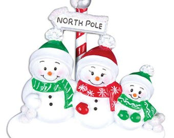 Snowman Family of 3 Unique Personalized Christmas Ornament + FREE SHIPPING!