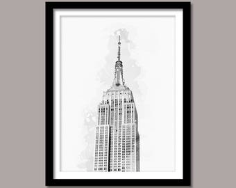 Empire State Building Print, Empire State Building Digital Print, Empire State Building Art, Landmark Printable Art, Black White Painting