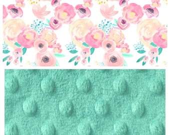 Custom, baby girl, watercolor pink and teal floral, minky blanket