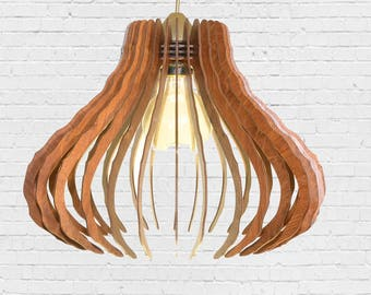 WOODEN PENDANT LIGHT, laser cut, industrial, living room, handmade.