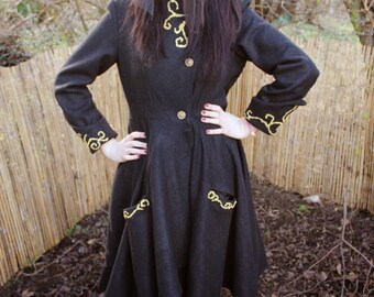 Tailored Whitby Goth Steampunk Wool Blend Coat