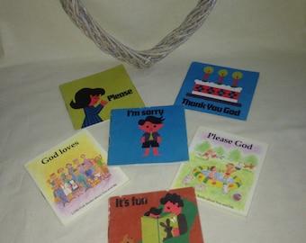 Vintage Religious Christian Childrens Mini Books - 1960's - 1980's - Please God - Little owls & Little Fish books
