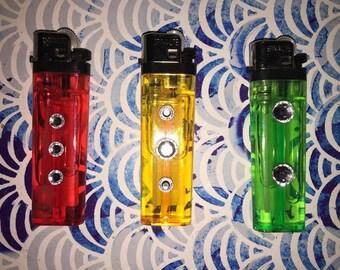 Bejeweled Rasta Lighters (3 Pack)