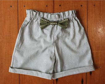 High waisted toddler/kids shorts, paper bag waist, with bow, vintage style