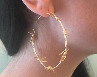 Barbed Wire Hoop Earrings