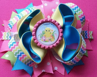 Spring Chick Bottle Cap Bow