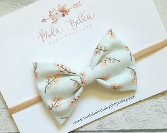 Floral Teal Bow, Baby Headband, Baby Bows, Bows, Hair Bows, Hair Accessories, Newborn Headband, Infant Headbands, Baby Girl Headbands