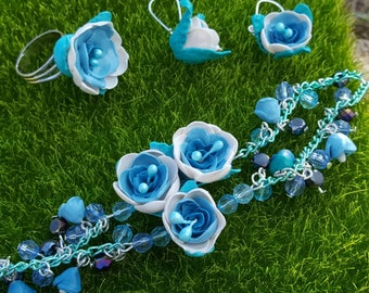 Floral set. Polymerclay jewellery.