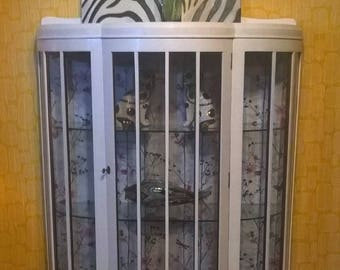 Vintage China Display Cabinet half moon four feet, glass fronted shabby chic refurbished upcycled painted furniture decoupage glass shelves