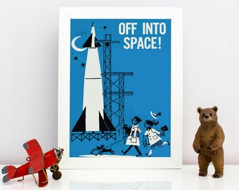 1960's Children's Illustration - Off Into Space!