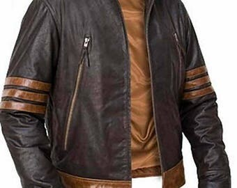 X-Men Wolverine Origins Bomber Style Brown Real Leather Jacket All sizes