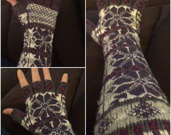 Elbow length half finger gloves