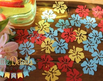 Tropical Table Confetti, Tropical Party, Hibiscus Flowers, Luau Party