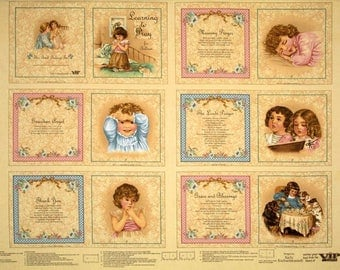 VIP Learning To Pray children's cotton story book fabric panel. FREE SHIPPING