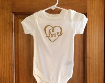 Love Heart Onesie 6-9 Months