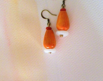 Summer Earrings Lightweight Earrings Orange Earrings Wood Earrings