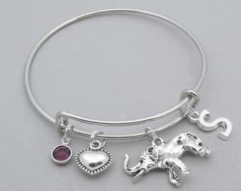 Elephant charm bracelet | love elephants bangle | personalised elephant bracelet | elephant jewelry | initial letter | birthstone