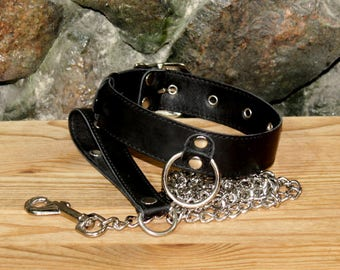 ADULT - Strict BDSM Collar with Lead / bdsm / slave collar / leather collar / bdsm outfit / black collar / bdsm collar with chain lead