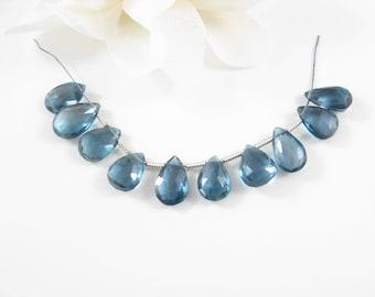 10PC, London Blue Topaz Pendant, Gemstone Beads, Faceted Gemstone Pendant, 9-11mm Small