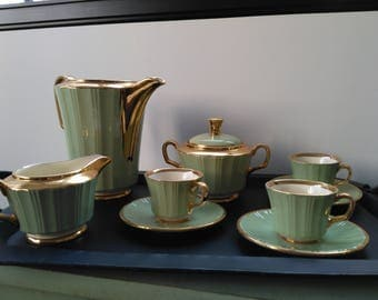 Service coffee Villeroy & Boch celadon green Shabby Chic. Vintage french porcelain
