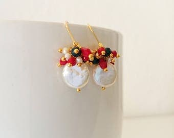 Coin pearl earrings with red and blue crystals
