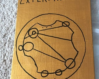 Exterminate FREE SHIPPING Doctor Who Circular Gallifreyan painting 6x8 art gold black Dalek