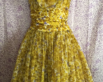 Vintage 50s Yellow Floral Chiffon Layered Tulle Dress