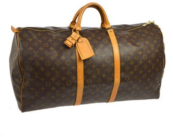 Louis Vuitton Vintage authentic keepall 60 jumbo travel purse duffel gym monogram brown beige leather m41412 yg00566