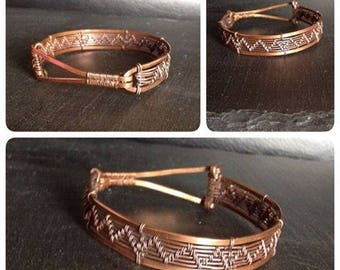 wire wrapped copper bangle -bracelet