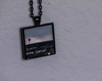 Windmill Photograph Square Pendant on Black Necklace