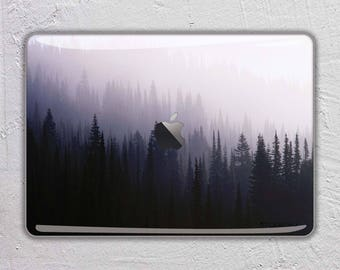 Forest nature trees landscape photography pink mountain fog 3 - MacBook Decal  Macbook Skin Apple MacBook Air Pro or Pro with Retina FSM249