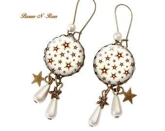 Stars cabochon earrings white stars