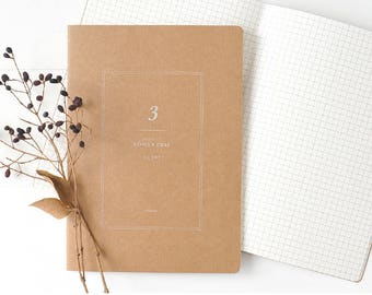 A5 Kraft Notebook[1/6 Grid] / Stitch Notebook / 10-n
