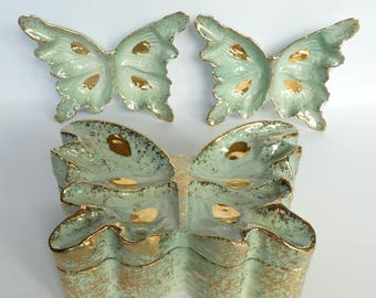 Vintage Hedi Schoop Butterfly Box and 2 dishes