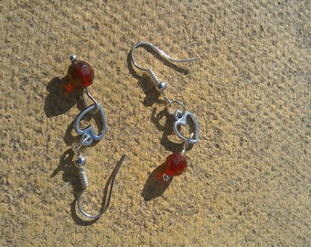 Love heart earrings with red beads