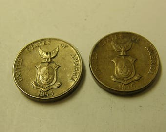 USA Phillpines 1944 & 1945-S Five Centavos Coins - Two Coin Set - Nice - WWII Era Coin