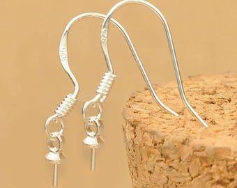 925 Sterling Silver Earrings Hook Ear Wire bead holder Accessory Findings