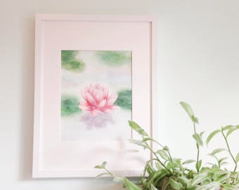 Watercolor of a water lily / / handmade canvas / / local Art