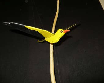 """Mobile bird """"Loriot"""" hand painted wooden"""
