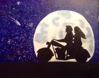 Motorcycle Couple Painting