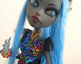 OOAK Monster high doll blue Kitty