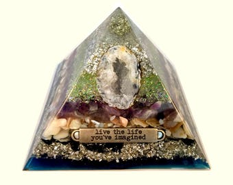 Strength & Protection Geode Orgone Pyramid (Large)