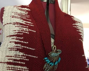 Red and white icicle scarf, hand made