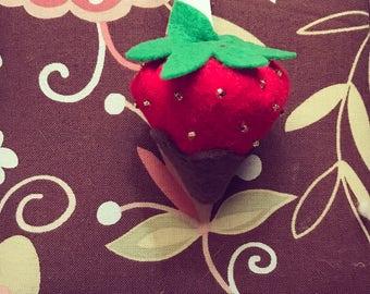 Chocolate covered felt strawberries