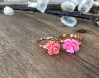 Stone Flower Wire Ring