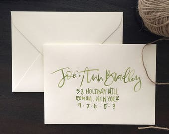 Olive Green Watercolor Envelopes with Hand Lettering, Watercolor Envelopes, Wedding Envelopes, Calligraphy Envelopes, Brush Hand Lettering